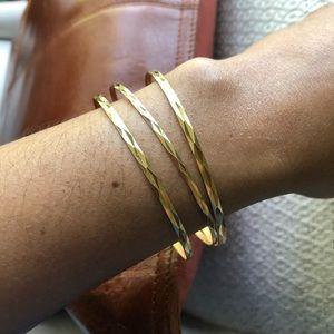 18K Solid Yellow Gold Bangle Bracelets